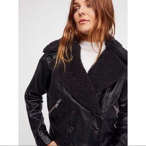 nwt // free people haley vegan leather moto jacket